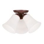 "Ridgedale Collection 3-Light 13"" Vintage Bronze Ceiling Mount with Hand Blown Satin White Glass 6462-70"