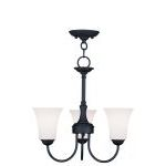 "Ridgedale Collection 3-Light 18"" Black Convertible Chain Hang/Ceiling Mount with Hand Blown Satin White Glass 6463-04"