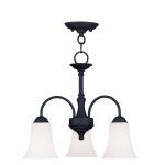 "Ridgedale Collection 3-Light 18"" Black Convertible Chain Hang/Ceiling Mount with Hand Blown Satin White Glass 6464-04"