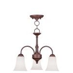 "Ridgedale Collection 3-Light 18"" Vintage Bronze Convertible Chain Hang/Ceiling Mount with Hand Blown Satin White Glass 6464-70"