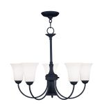 "Ridgedale Collection 5+1-Light 26"" Black Chandelier with Hand Blown Satin White Glass 6465-04"