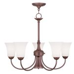 "Ridgedale Collection 5+1-Light 26"" Vintage Bronze Chandelier with Hand Blown Satin White Glass 6465-70"