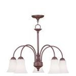 "Ridgedale Collection 5-Light 26"" Vintage Bronze Chandelier with Hand Blown Satin White Glass 6467-70"