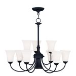 "Ridgedale Collection 6+3+1-Light 30"" Black Chandelier with Hand Blown Satin White Glass 6469-04"
