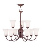 "Ridgedale Collection 6+3+1-Light 30"" Vintage Bronze Chandelier with Hand Blown Satin White Glass 6469-70"
