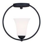 "Ridgedale Collection 1-Light 11"" Black Ceiling Mount with Hand Blown Satin White Glass 6470-04"