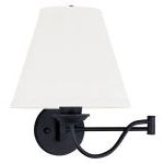 "Ridgedale Collection 1-Light 10"" Black Swing Arm Wall Lamp with Off-White Linen Hard Back Shade 6471-04"
