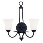 "Ridgedale Collection 2-Light 16"" Black Wall Sconce with Hand Blown Satin White Glass 6472-04"