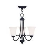 "Ridgedale Collection 3-Light 18"" Black Convertible Chain Hang/Ceiling Mount with Hand Blown Satin White Glass 6473-04"