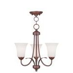 "Ridgedale Collection 3-Light 18"" Vintage Bronze Convertible Chain Hang/Ceiling Mount with Hand Blown Satin White Glass 6473-70"