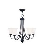 "Ridgedale Collection 5-Light 26"" Black Chandelier with Hand Blown Satin White Glass 6475-04"