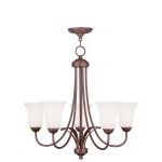 "Ridgedale Collection 5-Light 26"" Vintage Bronze Chandelier with Hand Blown Satin White Glass 6475-70"