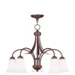 "Ridgedale Collection 5-Light 26"" Vintage Bronze Chandelier with Hand Blown Satin White Glass 6476-70"