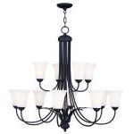 "Ridgedale Collection 8+4-Light 36"" Black Chandelier with Hand Blown Satin White Glass 6477-04"