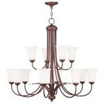 "Ridgedale Collection 8+4-Light 36"" Vintage Bronze Chandelier with Hand Blown Satin White Glass 6477-70"