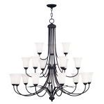 "Ridgedale Collection 9+6+3-Light 44"" Black Chandelier with Hand Blown Satin White Glass 6479-04"