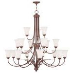 "Ridgedale Collection 9+6+3-Light 44"" Vintage Bronze Chandelier with Hand Blown Satin White Glass 6479-70"