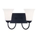 "Ridgedale Collection 2-Light 15"" Black Bath Light with Hand Blown Satin White Glass 6482-04"