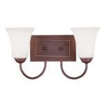"Ridgedale Collection 2-Light 15"" Vintage Bronze Bath Light with Hand Blown Satin White Glass 6482-70"