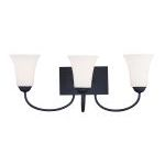 "Ridgedale Collection 3-Light 24"" Black Bath Light with Hand Blown Satin White Glass 6483-04"