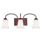 "Ridgedale Collection 3-Light 24"" Vintage Bronze Bath Light with Hand Blown Satin White Glass 6483-70"
