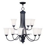 "Ridgedale Collection 6+3-Light 30"" Black Chandelier with Hand Blown Satin White Glass 6489-04"