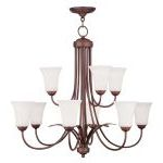 "Ridgedale Collection 6+3-Light 30"" Vintage Bronze Chandelier with Hand Blown Satin White Glass 6489-70"