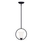 "Ridgedale Collection 1-Light 9"" Black Pendant with Hand Blown Satin White Glass 6490-04"