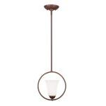 "Ridgedale Collection 1-Light 9"" Vintage Bronze Pendant with Hand Blown Satin White Glass 6490-70"