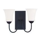 "Ridgedale Collection 2-Light 15"" Black Wall Sconce with Hand Blown Satin White Glass 6492-04"