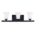 "Ridgedale Collection 3-Light 25"" Black Bath Light with Hand Blown Satin White Glass 6493-04"