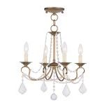 "Pennington Collection 4-Light 18"" Antique Gold Leaf Convertible Chain Hang/Ceiling Mount 6514-48"
