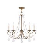 "Pennington Collection 5-Light 25"" Antique Gold Leaf Chandelier 6515-48"