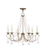 "Pennington Collection 6-Light 28"" Antique Gold Leaf Chandelier 6516-48"
