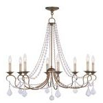 "Pennington Collection 8-Light 34"" Antique Gold Leaf Chandelier 6518-48"