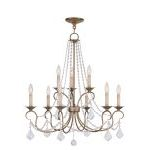 "Pennington Collection 6+3-Light 28"" Antique Gold Leaf Chandelier 6519-48"