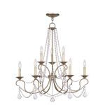 "Pennington Collection 6+3-Light 28"" Antique Silver Leaf Chandelier 6519-73"