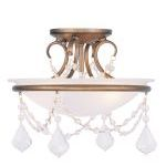 "Pennington Collection 2-Light 12"" Antique Gold Leaf Ceiling Mount with White Alabaster Glass 6523-48"