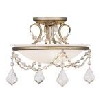 "Pennington Collection 2-Light 12"" Antique Silver Leaf Ceiling Mount with White Alabaster Glass 6523-73"