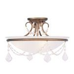 "Pennington Collection 3-Light 16"" Antique Gold Leaf Ceiling Mount with White Alabaster Glass 6524-48"
