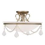"Pennington Collection 3-Light 16"" Antique Silver Leaf Ceiling Mount with White Alabaster Glass 6524-73"