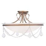 "Pennington Collection 3-Light 20"" Antique Gold Leaf Ceiling Mount with White Alabaster Glass 6525-48"