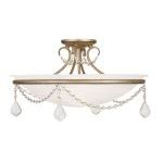 "Pennington Collection 3-Light 20"" Antique Silver Leaf Ceiling Mount with White Alabaster Glass 6525-73"