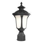 "Oxford Collection 1-Light 15"" Black Outdoor Post Head with Hand Blown Iced Cased Glass 7667-04"