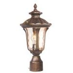"Oxford Collection 1-Light 15"" Moroccan Gold Outdoor Post Head with Hand Blown Light Amber Water Glass 7667-50"