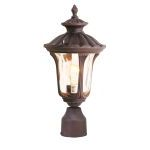 "Oxford Collection 1-Light 15"" Imperial Bronze Outdoor Post Head with Hand Blown Light Amber Water Glass 7667-58"