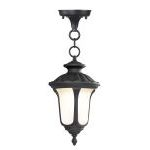 "Oxford Collection 1-Light 14"" Black Outdoor Chain Hang with Hand Blown Iced Cased Glass 7668-04"