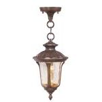 "Oxford Collection 1-Light 14"" Moroccan Gold Outdoor Chain Hang with Hand Blown Light Amber Water Glass 7668-50"