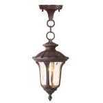 "Oxford Collection 1-Light 14"" Imperial Bronze Outdoor Chain Hang with Hand Blown Light Amber Water Glass 7668-58"