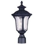 "Oxford Collection 1-Light 15"" Black Outdoor Post Head with Clear Water Glass 7848-04"